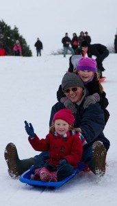 Tobogganing with children