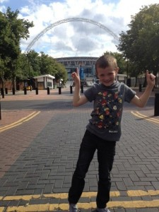 Matthew walking up Wembley Way