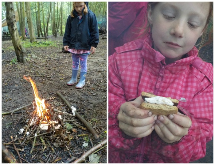 Making smores at Conkers
