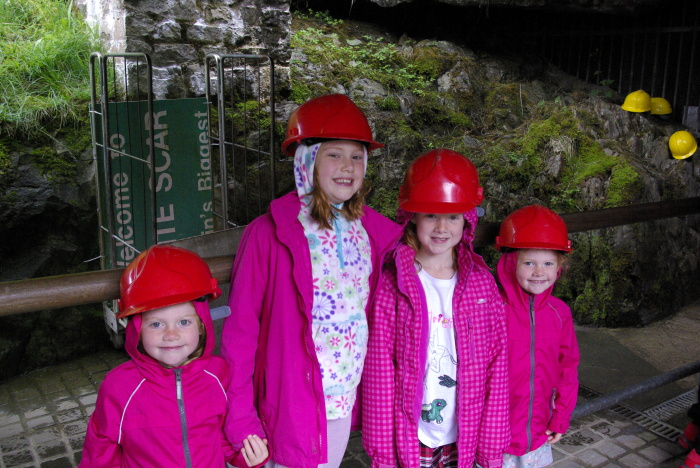 Getting our hard hats on at White Scar Cave