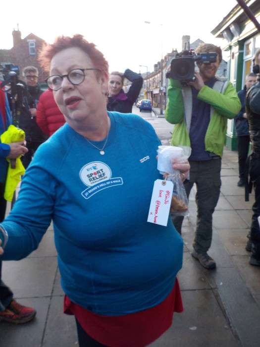 Jo Brand with her Team Honk fudge