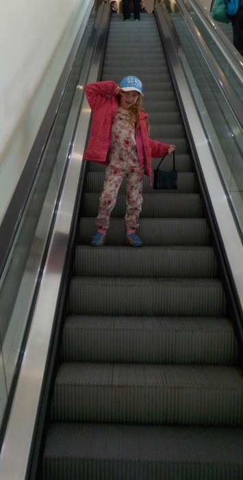On the escalators at Doncaster Frenchgate centre