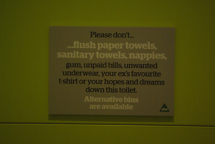 Cheeky toilet signs at YHA Grinton Lodge