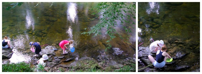 Fishing for tiddlers at River Dart Country Park in Devon