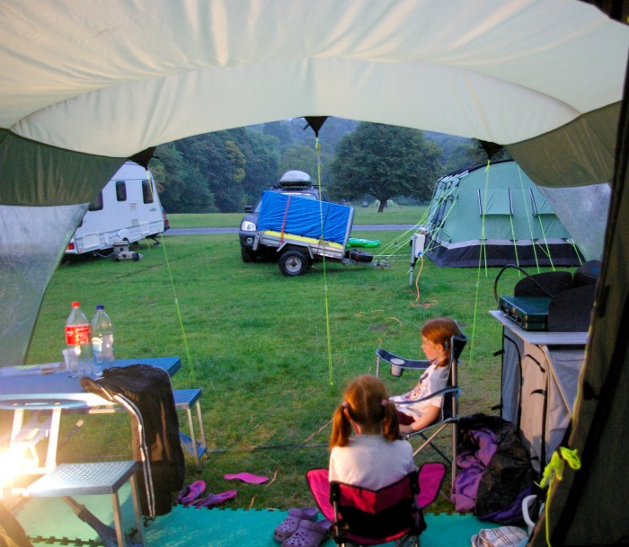 The view from our tent at the River Dart Country Park in Devon