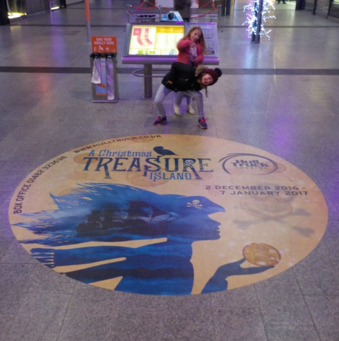 In St Stephens Hull ready for our trip to see A Christmas Treasure Island at Hull Truck Theatre