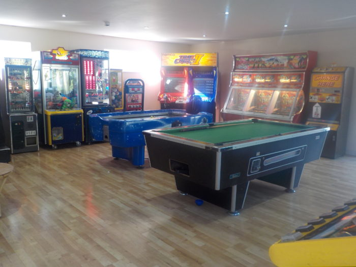 The games room at Andrewshayes Holiday Park
