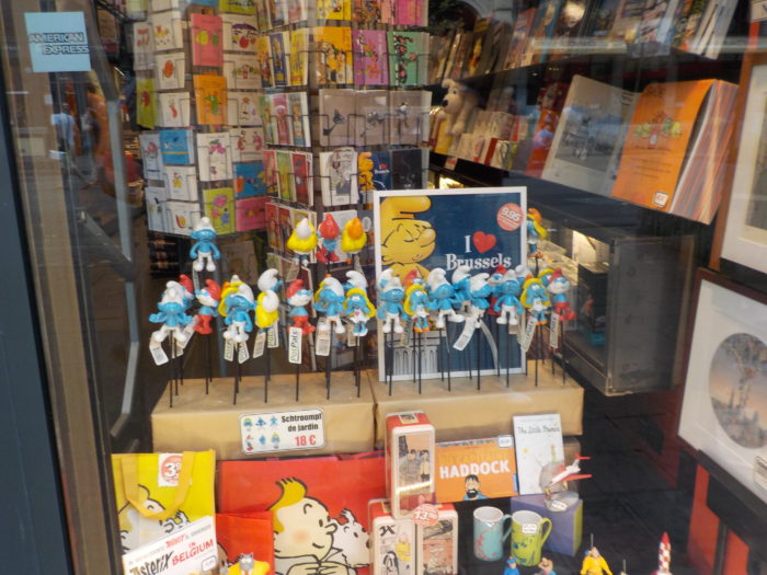 Smurfs in a gift shop in Brussels