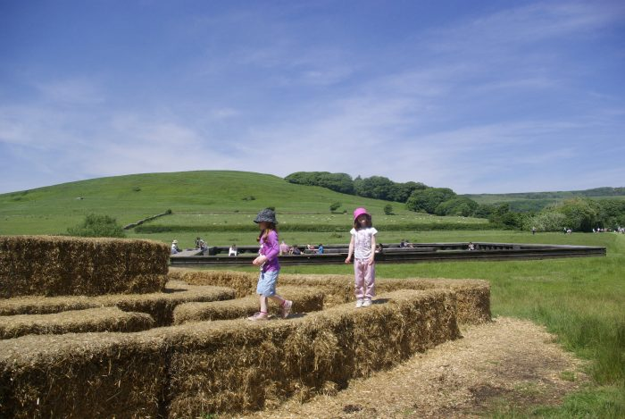 Hay bale climbing area at Abbotsbury Swannery