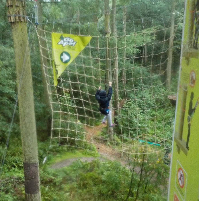 The scramble net at Go Ape Dalby Forest