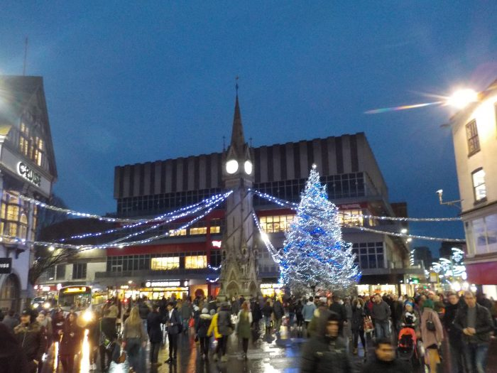 The Christmas Tree and Clock Tower Leicester