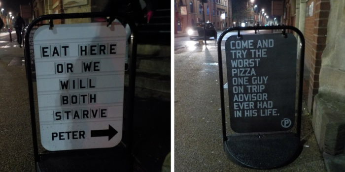 Signs at Peter Pizzeria Leicester