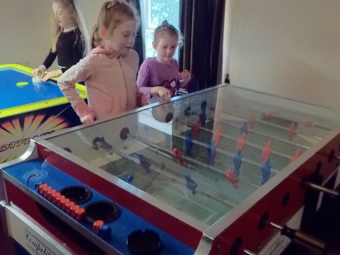 Playing fusball at Sandybrook Country Park