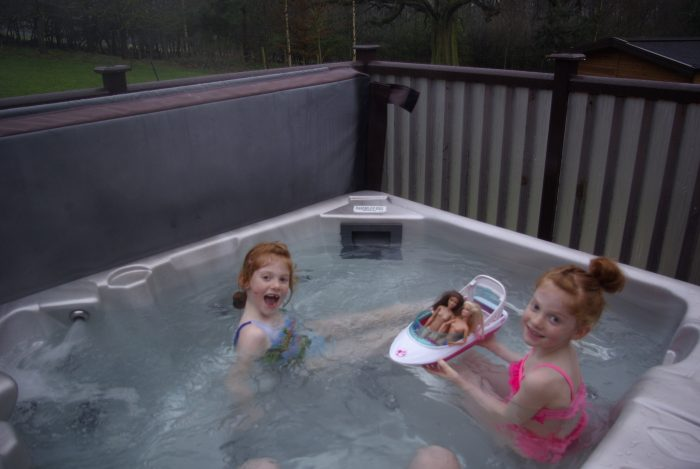 In the hot tub at Sandybrook Country Park