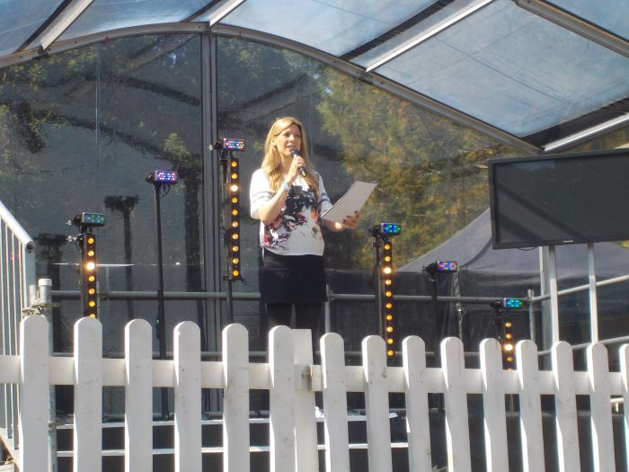Naomi on the Summer Social stage at the CBBC Summer Social 2018